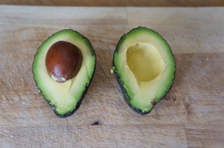 1. Open in half an avocado